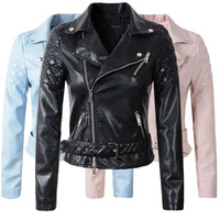 Wholesale 2016 New Fashion Women Faux Leather Jacket Ladies Motorcycle PU Blue Pink Black Long Sleeve Coat with Belt
