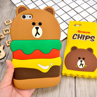 apples hamburg - New D Cartoon Silicon Case Cute Hamburg Bear Chips Bear Back Skin Cover Cases For iphone S SE S inch PLUS inch phone case