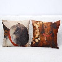 Wholesale 3D Lovely Puppy Cotton Pillow Covers Luxury Seat Chair Bed Throw Pillow Case