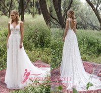 Wholesale Romantic Limor Rosen Sheath Wedding Dresses Deep V Neck Sheer Straps Heavy Embellishment Lace Vintage Garden Beach Bridal Gowns