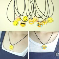 Wholesale Lucite Chain For Jewelry - Emoji Clavicle Necklace 22 Styles Resin Emoji Pendant Statement Necklace With Wax Rope Chain For Women Fine Jewelry