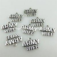 army wives - 19941 Vintage Silver Alloy Soldier Military Army Wife Words Pendant Findings