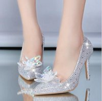 Wholesale 2016 New Pointed Toe Cinderella Crystal Pumps Flowers Women s Shoes Wedding Shoes Inlay Diamond High Heels