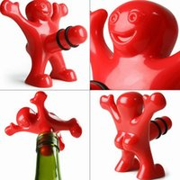 Wholesale 1pc Newest Funny Happy Man Guy Wine Stopper Novelty Bar Tools Wine Cork Bottle Plug Perky Interesting Gifts