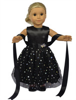 Wholesale 18 inch Fashion Black Red Lace Doll Dress American Girl Clothes with Shining Accessories Evening Party Dress
