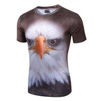 Wholesale 3D T Shirt Animal Tshirt Casual Lycra Eagle Tiger Digital Printing Men Summer Slim Fitness Tops Short Sleeve Sport Bull