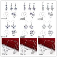 Wholesale Wedding women s gemstone sterling silver jewelry sets sets Multi Styles DFMSS39 leaves flower silver Necklace Anklet Earring Ring set