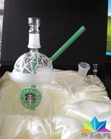 awesome logos - Awesome Starbuds dabuccino glass oil rig water pipe with Green Straw green Logo two bowls one nail Smoking devices