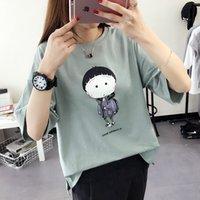 Wholesale Miss Han Ban summer Sleeve Printed T shirt female cartoon bottoming shirt loose cotton t shirt female tide