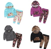 baby slacks - 70 CM autumn Leopard long sleeve hooded baby two pieces sets Girl Floral sweater slacks fall E440