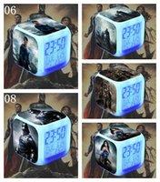 batman hottoys - 500PCS Digital Batman Hottoys HT BVS Movie LED Seven Colors Table Clocks Superman Night Light Alarm Clock LJJL138