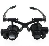 Compra Led magnifier-On Sale Lupa 10X 15X 20X 25X Ojo Gafas de la lente de la reparación del reloj de la joyería del ojo con 2 luces del LED Nuevo