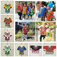 Wholesale African Dashiki Dresses Children Kids African Clothes Hippie T Shirt Caftan Vintage Tribal Mexican Top Riche Ethnic Clothing L308