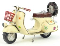antique scooter - 1965 Scooter Motorcycle Model Beige Floral handmade antique iron craft vintage metal motorcycle model decoration collection gift