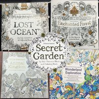 Wholesale Hot pages An Inky Treasure Hunt and Coloring books Secret Garden Enchanted Forest Books Lost Ocean Animal Kingdom Wonderland DHL Free