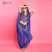 Wholesale Belly Dance Costume for Woman Bollywood Performance Wear Indian style Short sleeved shirt and Pants Red Blue Purple Yellow wholesaler