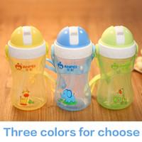 Wholesale Baby Cup Portable Kettle Kids Learn Drinking Water Bottle School Children Folding Straw cup Sipper bottle