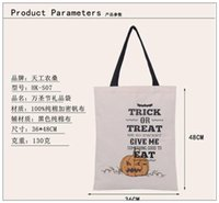 Wholesale 2016 New Popular Halloween Large Canvas Bags Cotton Drawstring Bag With Pumpkin devil spider Hallowmas Gifts Hot Sack Bags SIZE cm