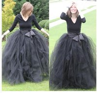 Wholesale Long Black Skirts Fashion - Cheap Floor Length Ball Gown Skirts For Women Ruffled Tulle Long Skirt Adult Women Tutu Skirts Lady Formal Party Skirts With Sashes