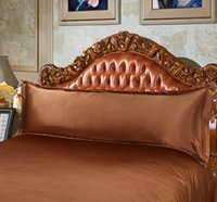 Wholesale Luxurious Brown Pillowcase silk pillow case Decorative pillow cover bedding comfortable satin brown gray beige Double Pillow Case