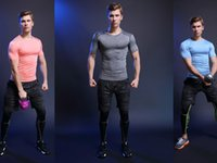 Wholesale Mens Compression T Shirts Short Sleeve Weight Liftng Fitness Base Layer Bodybuilding training jogging Tights