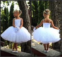 amazing for sale - White Wedding Dress For kids Little Party Wear Cheap Ball Gown Spaghettis Beadings Lace Knee Length Amazing Design Gorgeous Style Hot Sale