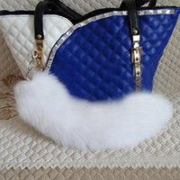 arctic white fox - hadlook Fluffy Pure White Arctic Fox Tail Keychain Bag Charm Cosplay Accessories
