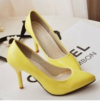 Wholesale 2016 spring and summer women solid color patent leather high heeled shoes with pointed heels fine fashion wild wedding shoes