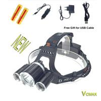Wholesale Portable RJ XML T6R5 lm Mode LED Headlamp Headlight Led Rechargeable Hunting Lamp Light USB Charger