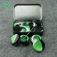 Wholesale Silicone Kit Set With ML In Containers For Wax Dabs jars Stainless And Gold Titanium Dabber Tool DHL free S