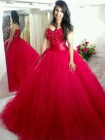 Wholesale Sexy 18 Image - Red Quinceanera Dresses Ball Gown Crystal Sweetheart Bodice Corset Prom Dresses Sixteen 15 18 Years Old Formal Party Gowns