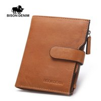 american bison wallet - BISON DENIM Brand Gesigner High Quality Retro Brown Genuine Leather Wallet Men card holder coin wallet Vintage