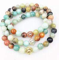 amazonite jewelry - SN0351 Men Beaded Bracelet Fashion Amazonite Stone Bracelet With Lion Head gold rose gold silver plated Natural Stone Jewelry