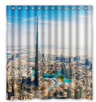 Wholesale View From Burj Khalifa Dubai Fabric Modern Classical Custom180x180cm Shower Curtain bathroom Waterproof Eco Friendly
