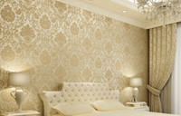 Wholesale Embossed Damask Textured Bedroom Wallpaper Nonwoven Soft Roll Wall Sticker For Home Decoration