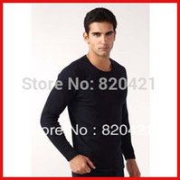 Wholesale new Men s thermal underwear thick velvet round neck long sleeved T shirt bottoming shirt warm