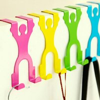 Wholesale New Creative Stainless Humanoid Hook Door Hanger Clothes Hat Hook Furniture Decoration Novelty Household
