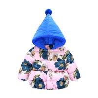baby jacket pattern - Children Down Coat Christmas Girls Winter Coats Flowers Pattern Hooded Baby Jacket Outwear Girls Outerwear Coat