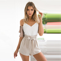 white jumpsuit women - 2016040302 Summer white elegant jumpsuit romper Women bow one piece casual playsuit Sexy backless short overalls girls