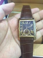 2016 étoile de style Vintage de luxe 3 broches hommes de la marque en cuir brun montre automatique mécanique mens montre noire cadran mens lecteur regarder occasionnel bracelet