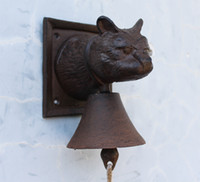 barn decor - Cast Iron Cat Shaped Wall Mounted Bell Ornate Door Bell Doorbell Rustic Cottage Patio Garden Farm Country Barn Decor Free Ship
