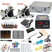 5 Guns Beginner Kit brand new USA Dispatch Top New Complete Tattoo Kit 2 Machine Guns Power Supplies 28 Inks Colors Needles Set for tattoo starters Supplies
