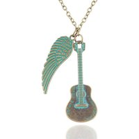 asian guitar - Personalized retro necklace new fashion love guitar wings necklace pendant jewelry gifts