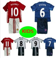 Wholesale best quality kids MancHESTER IBRAHIMOVIC Pogba jerseys AWAY BLUE ROONEY MEMPHIS MARTIAL unITED football SHIRT