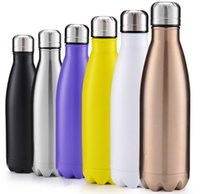 Wholesale 12 color Stainless Steel Flask Travel Sport Stainless Steel Cups ml Double Wall Thermos Cup Vacuum Flask Water Mug KKA871