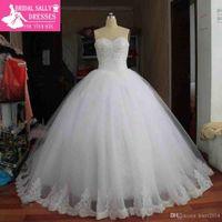 Wholesale Real Image Ball Gown Lace Wedding Dress Vestido De Noiva Robe De Mariage Luxury Beading Shining Vintage Wedding Dress