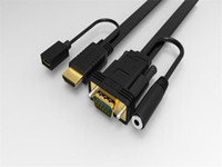 audio video supply - Full HD HDMI to VGA Video Converter Cable Plug and Play Adapter with mm Audio Output and External Micro USB Power Supply