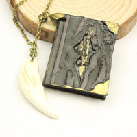 antiqued white - Harry Potter Diary Inspired Copper Book Necklace With Teeth All Was Well Hand Stamped Antiqued Metal Book Pendant