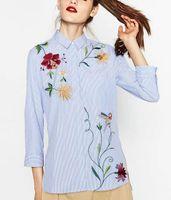 Wholesale 2016 Women Long Sleeve Striped Flower Embroidery Blouses Fashion Women Asymmetric Shirt Tops Plus Size Women Clothing