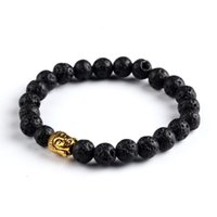 antique mala beads - 2016 Newest Design Men Women Beaded Energy Turquoise Agate Mala Beads Lava Stone Antique Silver and Gold Buddha Bracelet Gift Jewelry